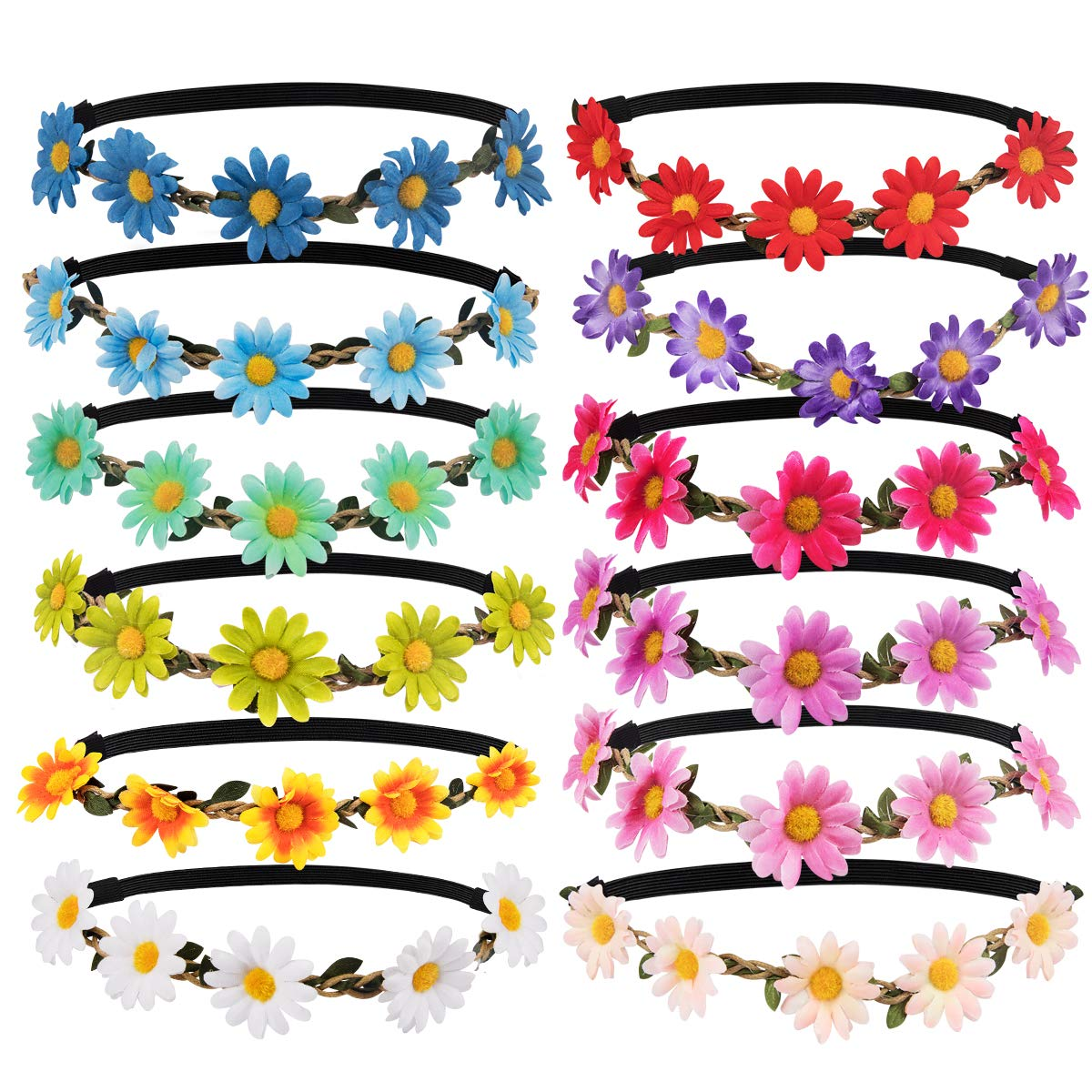ANBALA Multicolor Daisy Flower Headband 12 Pieces Crown Floral Garland Headbands for Girls for Festival Wedding Party