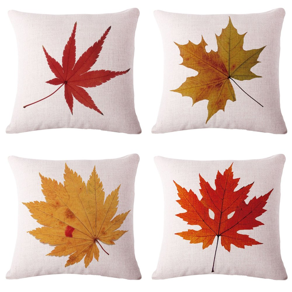 Tool Gadget Throw Pillow Covers, Autumn Leaves Cushion Cover, Fall Decorations Couch Pillow Cases, Cotton Linen Fall Decor, 18''x18'' for Sofa Couch Bed and Car