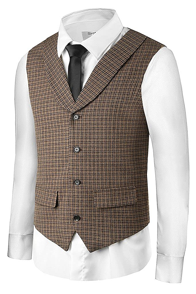 Hanayome Men Plaid Vest Suit Jacket Waistcoat Brown Business Shawl Collar Vests VS28 VS28-VS-B1