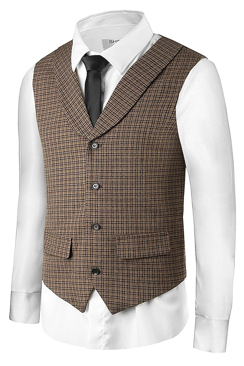 Men's Vintage Vests, Sweater Vests Hanayome Men Plaid Vest Suit Jacket Waistcoat Brown Business Shawl Collar Vests VS28 $28.50 AT vintagedancer.com