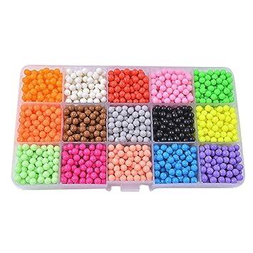 Abalorios Cuentas de agua 2400 perlas 15 colors/Hama Beads/para Niños Niños Diy Artesanía Juguetes Educativos Diy: Amazon.es: Hogar