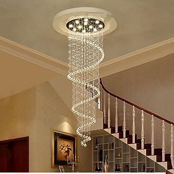 Candelabros Duplex Escaleras Escalera luces araña de cristal Villa Escaleras Salón larga araña, Araña de cristal: Amazon.es: Iluminación