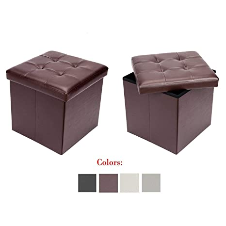 Enjoyable Bonnlo 2 Pcs 15 Faux Leather Folding Storage Ottoman Cube Bench Foot Rest Seat Coffee Table Brown Creativecarmelina Interior Chair Design Creativecarmelinacom