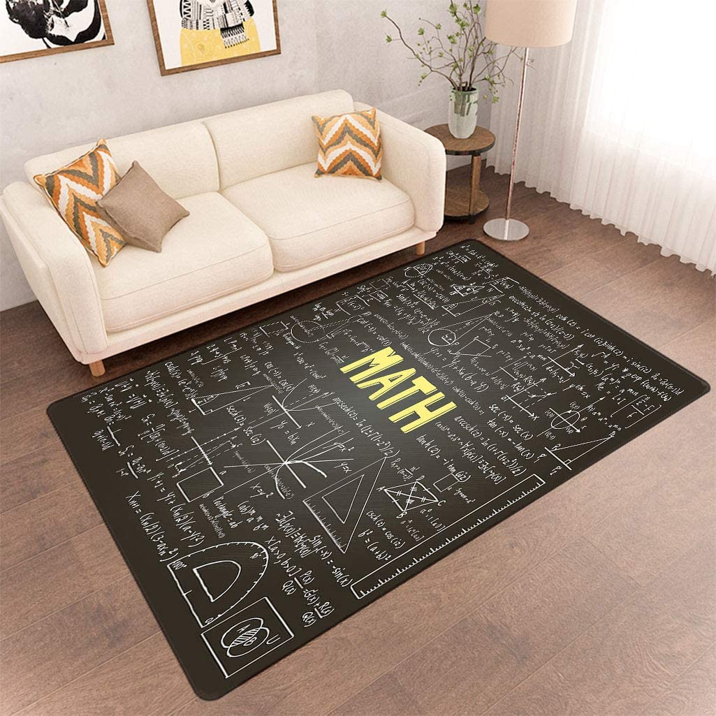 Mathematics Classroom Decor Kitchen Area Rugs, Dark Blackboard Word Math Equations Geometry Axis Fluffy Carpets Rugs for Living Room, 5' x 6' Dark Brown White Yellow