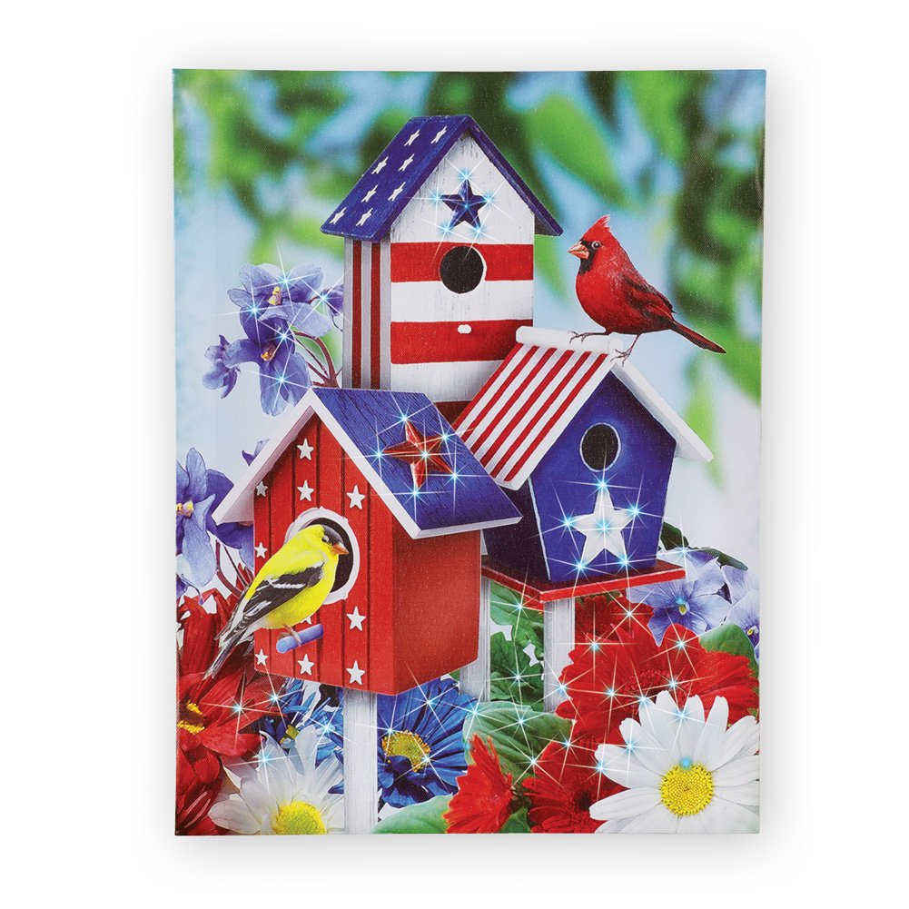 Collections Etc Patriotic Songbirds Birdhouse Lighted Canvas Wall Art by Collections Etc