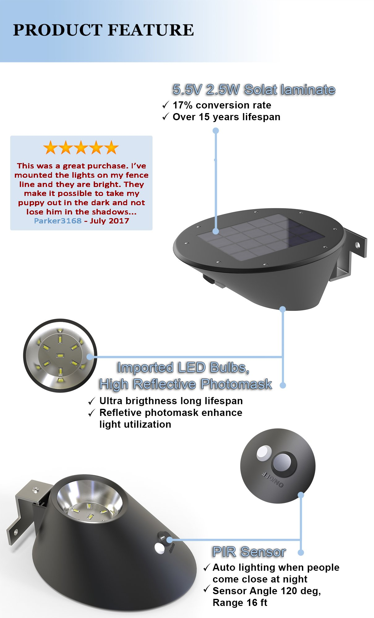 Solar Light Fixture for Outdoor - Higher Quality LED Than Most on The Market | Battery Powered Pathway & Walkway Lights | The Best Bright Outside Large Power LED for Security | Lasts All Night.
