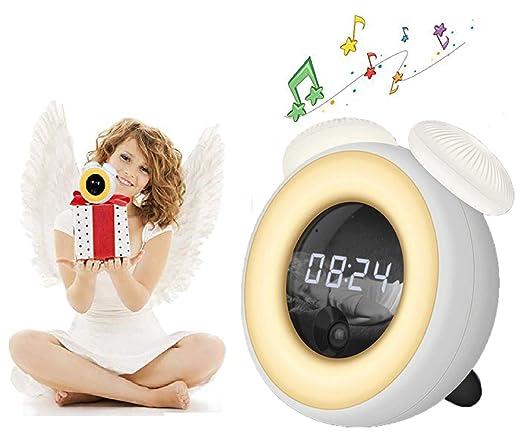 Reloj despertador para niños Foladion Luz nocturna nocturna Lámpara de mesa eléctrica eléctrica Reloj despertador con