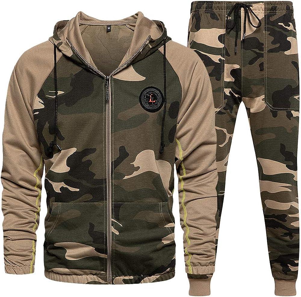 LBL Surv/êtement Homme Ensemble Camouflage D/écontract/é Sweat-Shirt /à Capuche Pantalon de Jogging Sportif