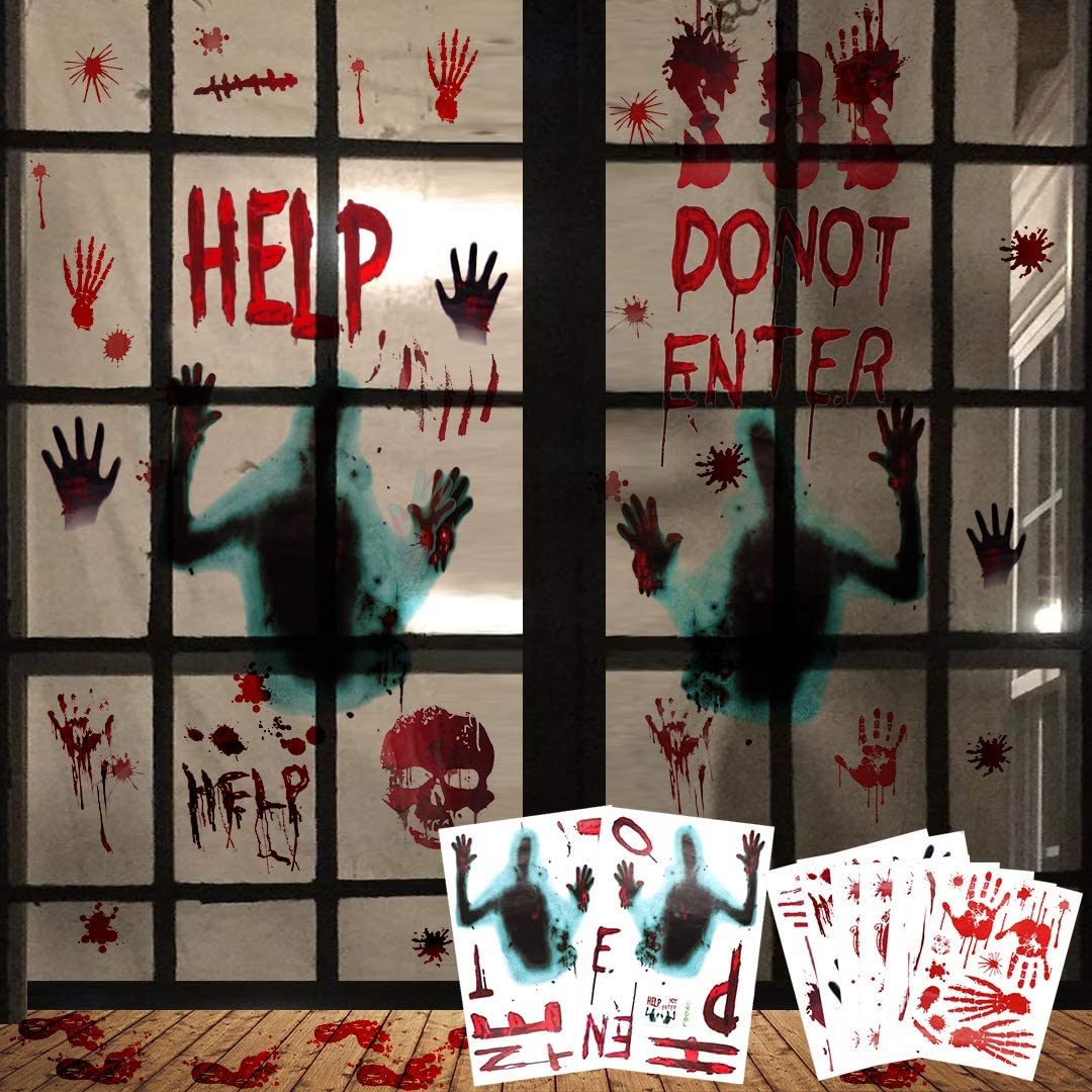 Halloween Window Clings Decorations Indoor Scary Party Decor Haunted House Props Silhouette Decals Bloody Footprints Handprints Stickers for Bathroom Floor 9 Sheets