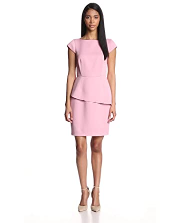 HALSTON HERITAGE Women's Double Face Satin Capsleeve Asymetrical Peplum Dress, Cameo, 2