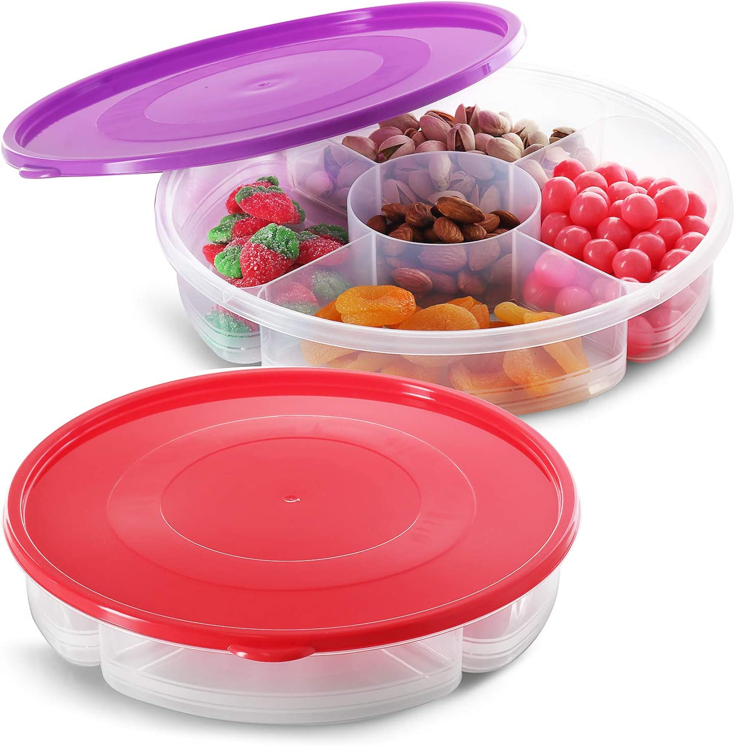 Zilpoo 2 Pack - Candy and Nut Serving Container, 5 Compartment Appetizer Tray with Lid, Round Plastic Food Storage Lunch Organizer, Divided Keto Snack Plate, Dish Platter w/Cover, 11-Inch