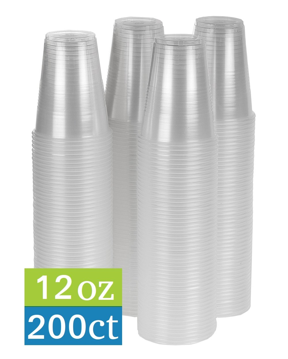 TashiBox 12 oz clear plastic cups - 200 count - Disposable cold drink party cups