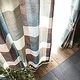 洗濯機 洗える 日本製 厚地カーテン ドレープ 非遮光 北欧 カーテン モダン かわいい チェック柄 ナチュラル ブルー 幅100x丈200cm
