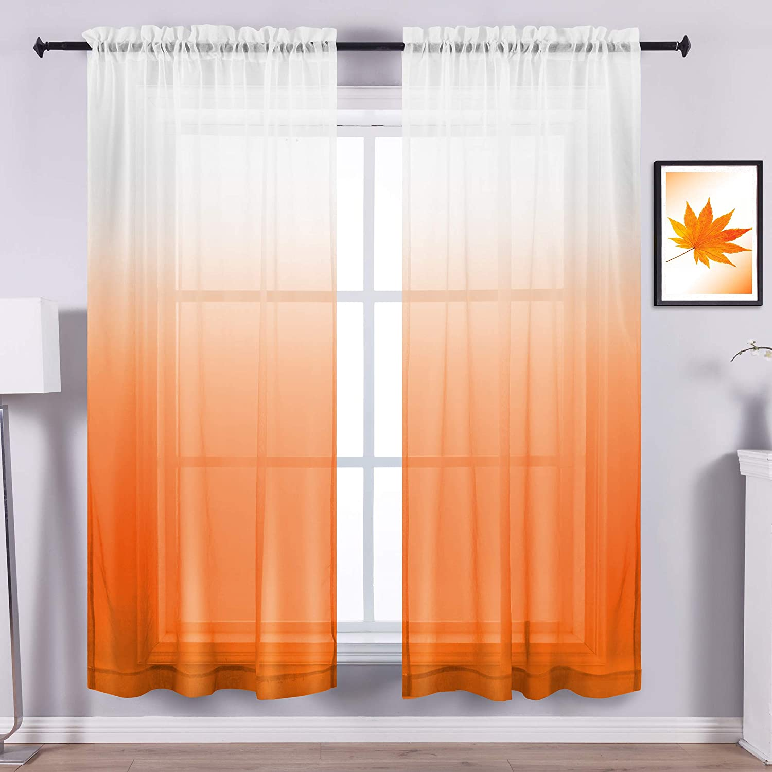 Fall Sheer Curtains For Living Room Set 2 Panels Halloween Autumn Window Treatment Home Decor Rod Pocket Voile Ombre Elegant Fall Pattern Curtains For Bedroom Dining Kitchen Bathroom 63 Inch Length