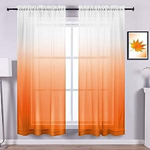 Orange Curtains 84 Inch Length for Living Room Decor Set 2 Panels Rod Pocket Window Drape Sheer Ombre Bright Curtains for Dining Room Kitchen Girls Kids Boys Bedroom 84in Long Burnt Light Orange White
