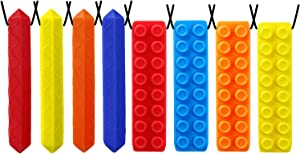 Sensory Chew Necklace by GNAWRISHING, Chew Necklaces for Sensory Kids Made from Food Grade Silicone for for Autistic, ADHD, Oral Motor Boys and Girls Children (8Pack Diamond and Building Block)