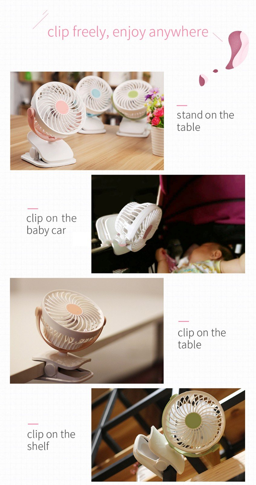 Baby Stroller Clip USB Fan Battery Operated Fan, Rechargeable, Quiet Design, Portable, 4-Speed Adjustable, for Desk, Tents, Car, Bed New- 4 Colors,Pink by YWXJY (Image #4)
