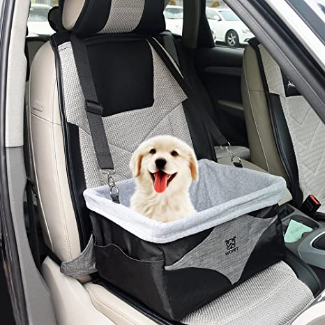 WOpet Deluxe Dog Booster Car Seat With Clip On Safety Leash