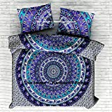 Queen Size Elephant Mandala Duvet Cover, 100 % Cotton Mandala Reversible Duvet Cover, Indian Mandala Bedspread, Boho Comforter Cover