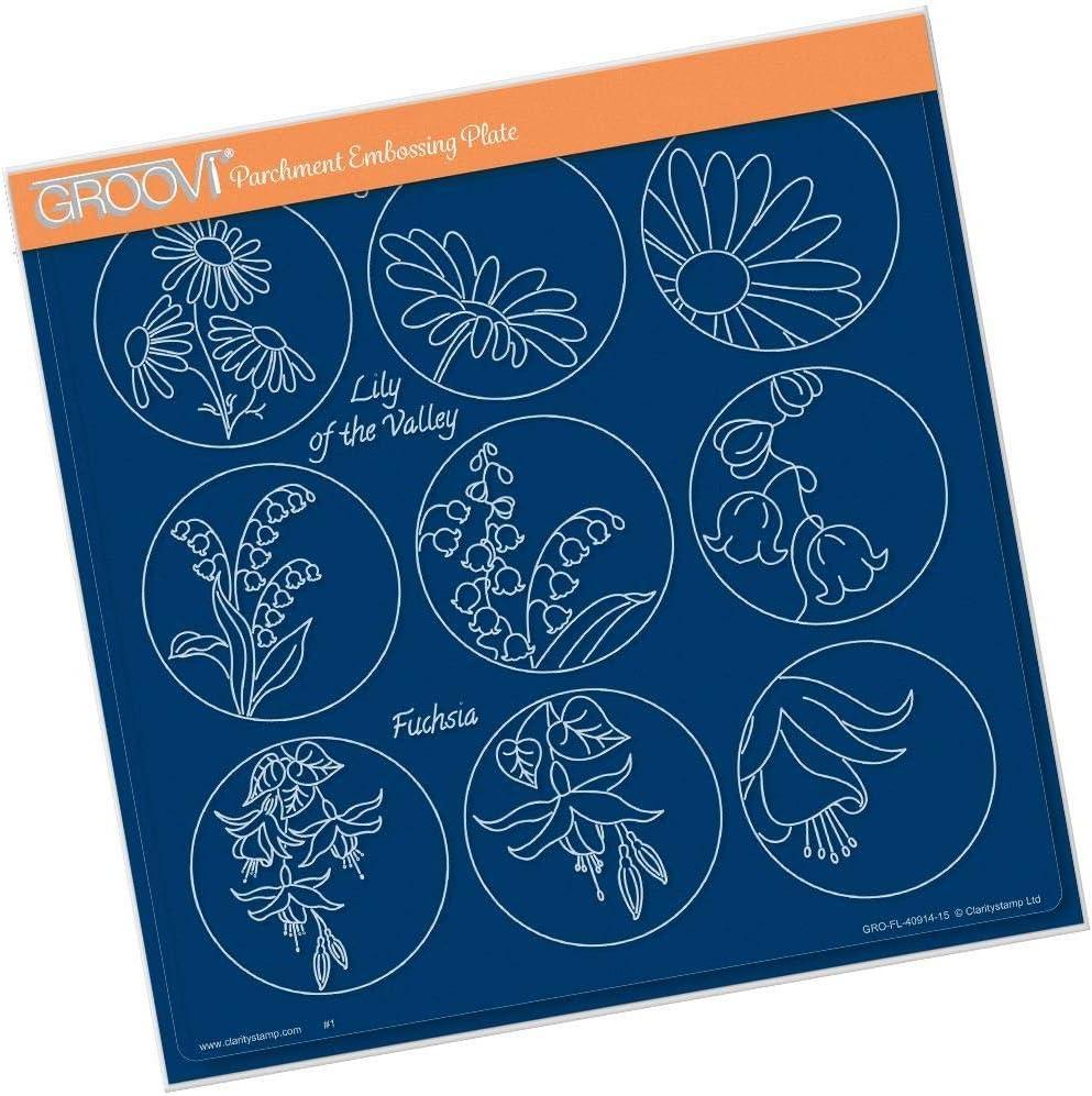 Lindas 123 Flower Sampler A A4 Square Groovi Plate