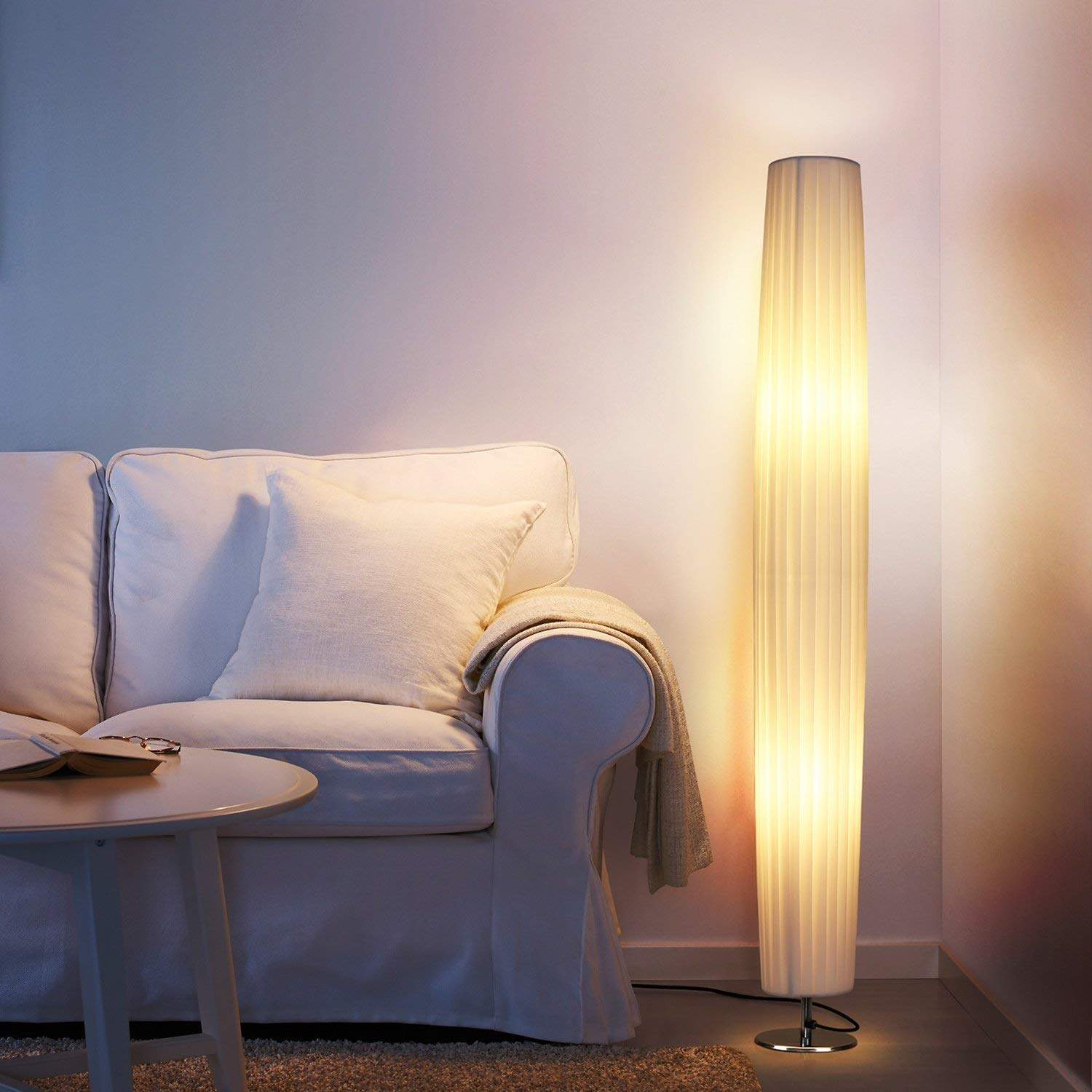 Albrillo LED Floor Lamp with Fabric Shades, 46 Inch Tall Contemporary Standing Modern Floor Lamps for Living Room, Bedroom, Home, Office