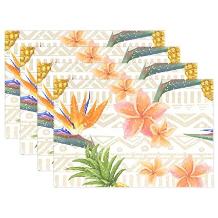 146df3160d57 Amazon.com: LAVOVO Tropical Exotic Flowers Pineapple Placemats Plate ...