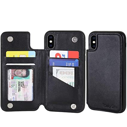 Amazon.com: iPhone Xs Max - Funda de piel tipo cartera para ...