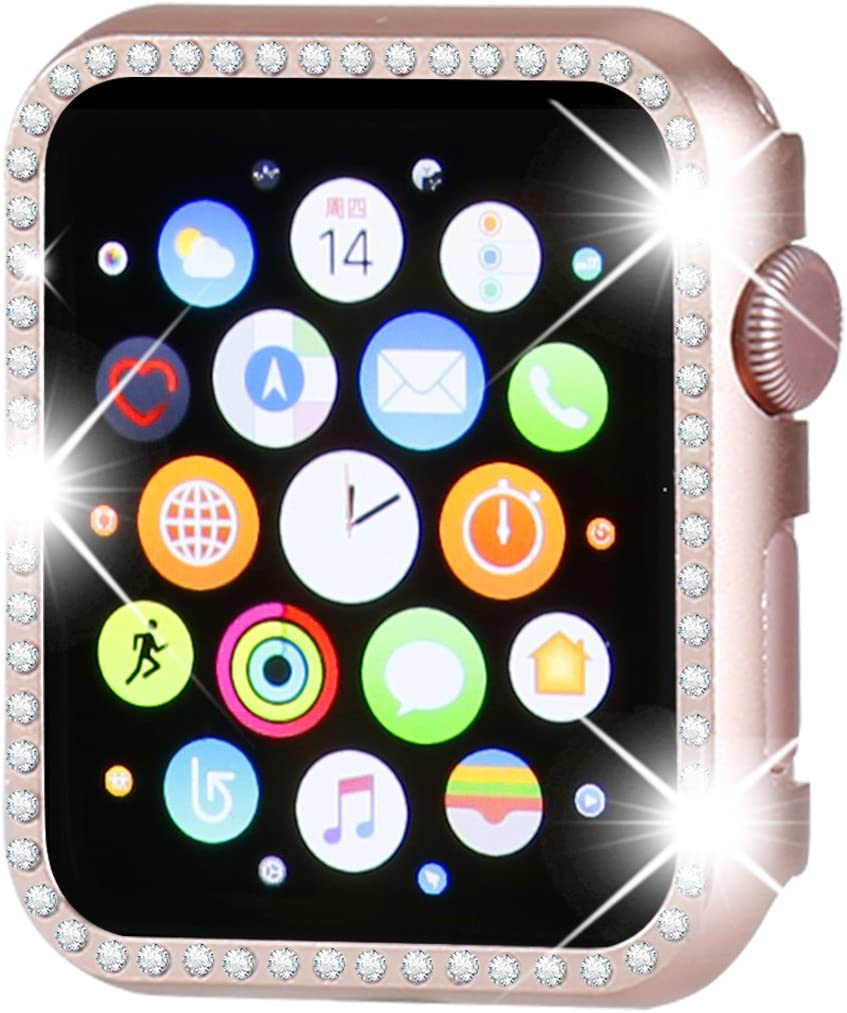 Henstar Compatible with Apple Watch Case 42mm,iWatch Face Bling Crystal Diamonds Plate Cover Protective Frame Compatible with Apple Watch Series 3/2/1 (Rose Gold-Diamond, Series 3/2/1 42mm)