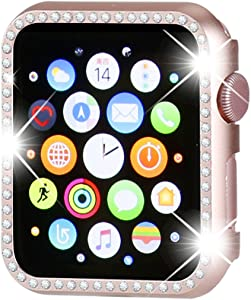 Henstar Compatible with Apple Watch Case 44mm,iWatch Face Bling Crystal Diamonds Plate Cover Protective Frame Compatible with Apple Watch Series 6/5/4/SE 44mm(Rose Gold-Diamond)