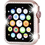 Henstar Compatible with Apple Watch Case 38mm,Compatible with iWatch Face Bling Crystal Diamonds Plate Cover Protective Frame Compatible with Apple Watch Series 3/2/1 (Rose Gold-Diamond, 38mm)