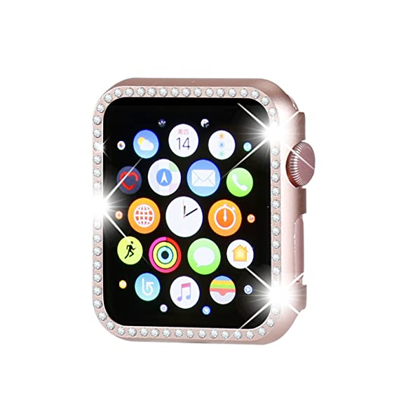 wholesale dealer 4eade 89aba Henstar Compatible with Apple Watch Case 38mm, Compatible with iWatch Face  Bling Crystal Diamonds Plate Cover Protective Frame Compatible with Apple  ...