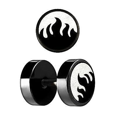 VOTREPIERCING Falso Dilatador Oreja Anodizado Negro Corte Laser Fuego 1.2 x 6 x 8 mm: Amazon.es: Joyería