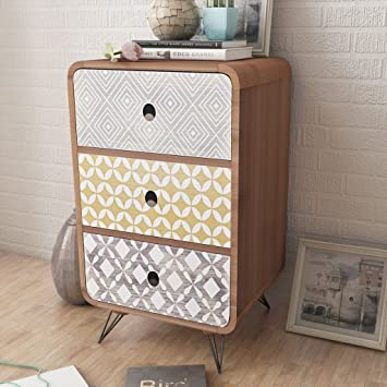 Anself Side Cabinet Table Storage Unit with 3 Drawers Living Room ...