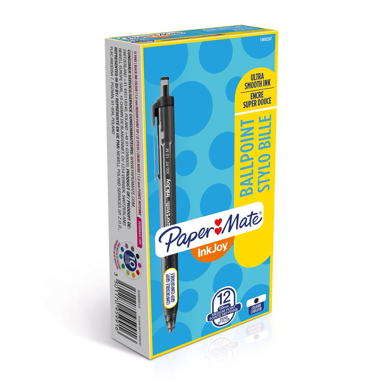Paper Mate InkJoy 300 RT Stylo Bille Pointe Moyenne Bleu Lot de 12 Papermate S0959920