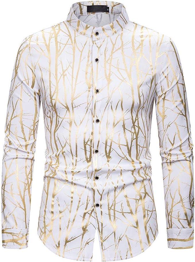 ღLILICATღ Camisa de Hombre Moda Personalidad Floral Retro Impreso Manga Larga Negocio Ajustado Negocio Botón Formal Autocultivo Casual Camiseta para Hombre Blusa Tops: Amazon.es: Ropa y accesorios
