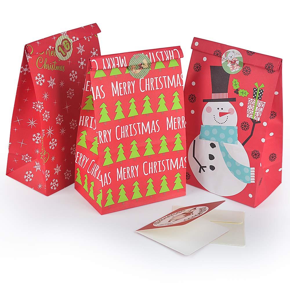 30 Piezas Bolsas de Regalo de Navidad Bolsa Regalo con Cintas para Envoltura de Regalos Plastico Bolsas Regalo Bolsitas para Regalos Navidad Chuches Grande Peque/ño Mediano