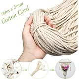 90m x 5mm Natural Macrame Cotton Rope, Cord Craft Knitting Thread, String Wall Hanging Plant Hanger, Garden Flower Pot Holder Beige
