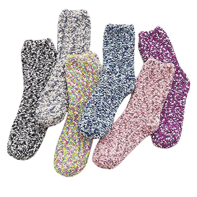 6 pares de calcetines para dormir suaves Fuzzy Zapatilla calcetines del invierno calcetines ocasionales de suelo: Amazon.es: Ropa y accesorios