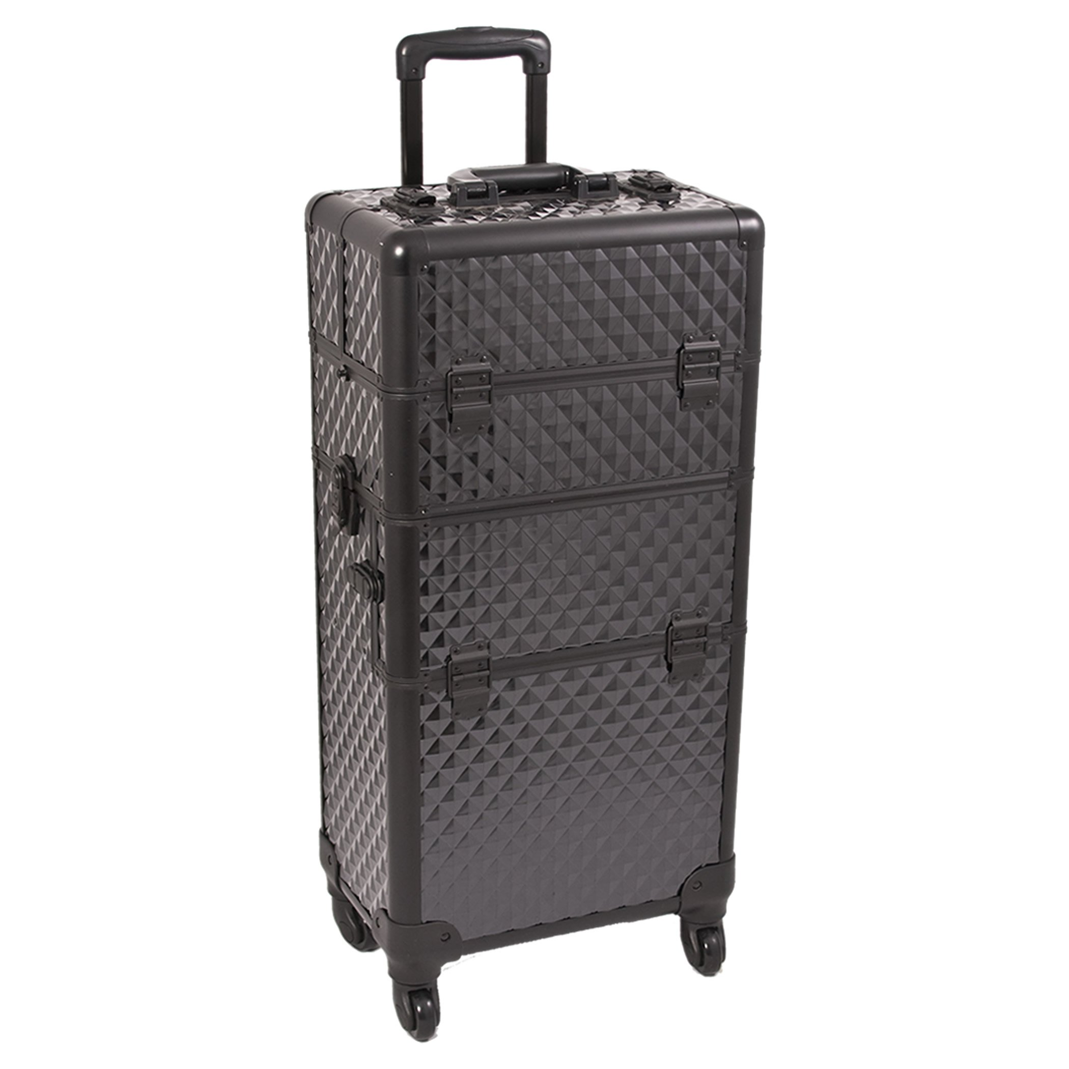 Sunrise Rolling Makeup Train Case 2 in 1 Professional Artist I3661, 8 Trays and 1 Removable Tray, 4 Wheel Spinner, Locking with  Mirror and Shoulder Strap, Black Diamond