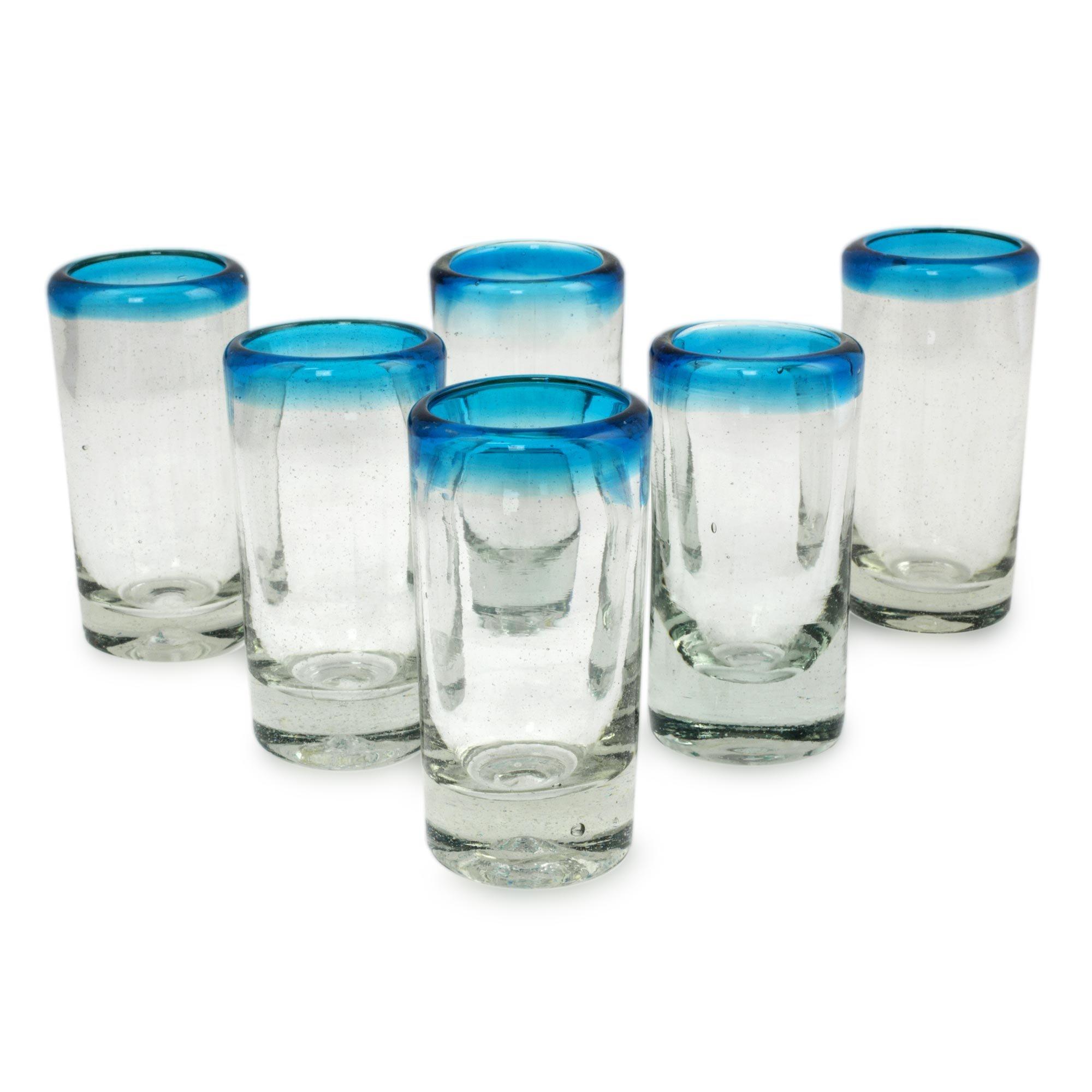 NOVICA Hand Blown Clear Blue Recycled Glass Shot Glasses, 3 oz 'Aquamarine' (set of 6)