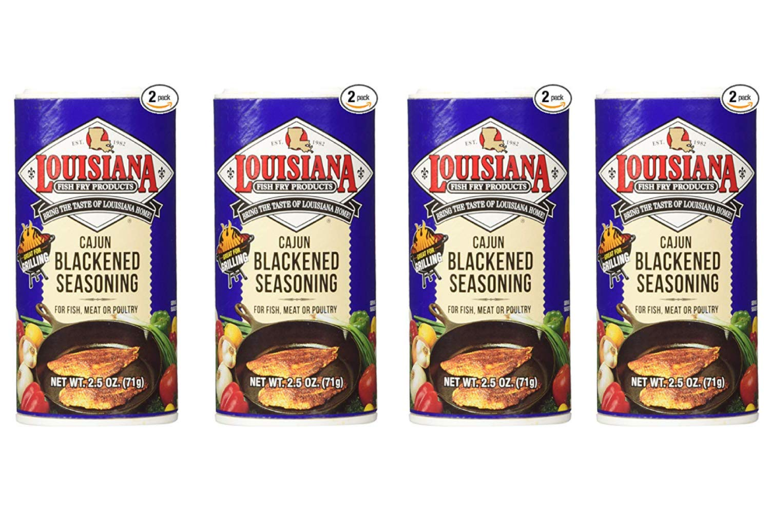 Louisiana Cajun Blackened Seasoning (71 Grams Shakers) 2 Count (4 Pack)