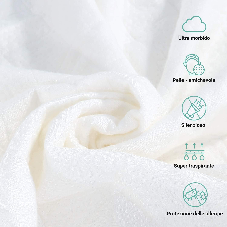 Recci Prot/ège-matelas en bambou Singolo 90 x 200 cm Blanc
