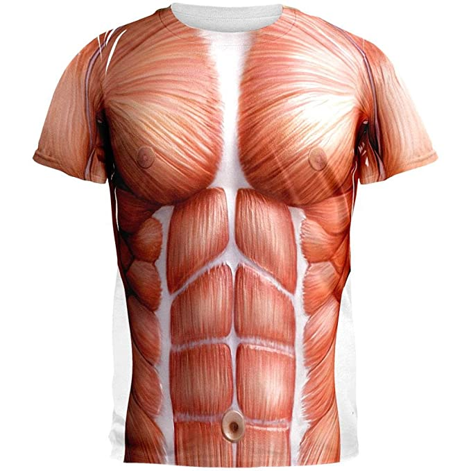 Amazon.com: Halloween Muscle Anatomy Costume All Over Adult T-Shirt ...