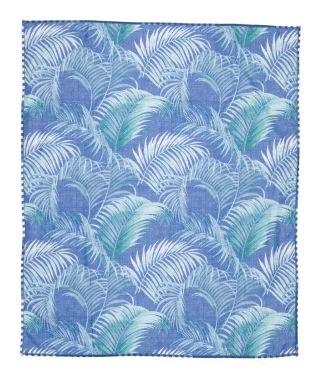 Tommy Bahama Oretti Blue Palm Leaves Picnic Beach Blanket Indoor Outdoor by Tommy Bahama