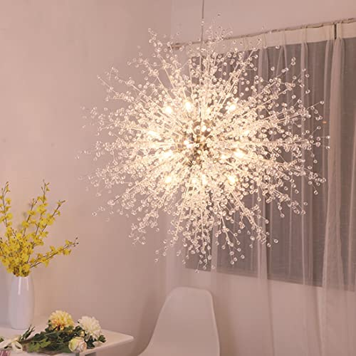 GDNS Chandeliers Firework LED Light Stainless Steel Crystal Pendant Lighting Ceiling Light Fixtures Chandeliers Lighting,Dia 35.4 inch
