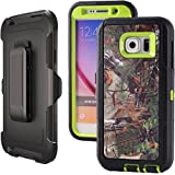 Galaxy S6,Harsel Heavy Duty Shockproof 3-layer Military Outdoor Sport Rubber Camouflage Wood Design Defender Case Cover with Belt Clip Built-in Screen Protector for Samsung galaxy S6(Forest-Green)