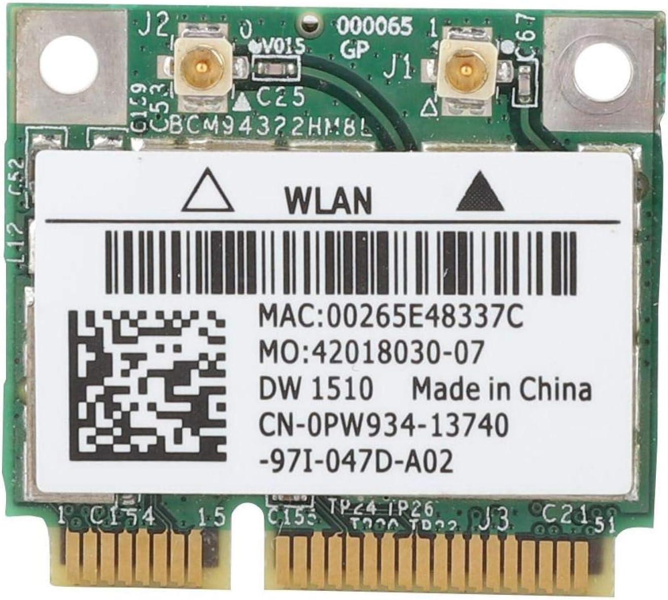 Sutinna Wireless Network Card, BCM94322HM8L DW1510 Dual Band PCI Express 5GHz/2.4GHz 300Mbps Mini PCI-E WiFi Wireless Network Card for DELL E4200 E5500