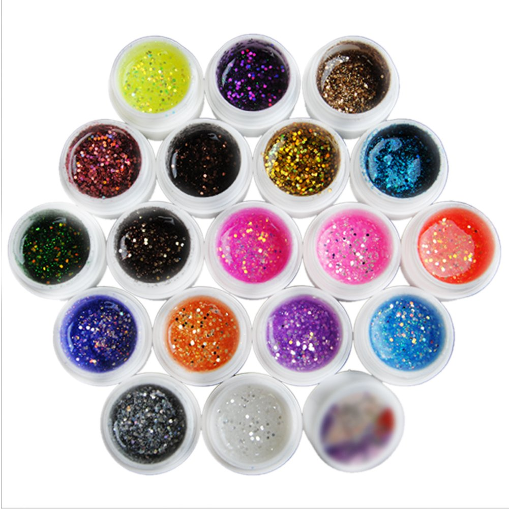 Fashion Zone 18 Color Big Glitter Kit UV Gel Builder Gel Nail Art Decoration Set