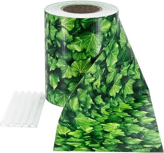Colore Grigio Chiaro Rotolo Frangivista /& Frangivento in PVC per Recinzione da Giardino a Doppia Barra Lunghezza 35m x 19cm con 20 Clip