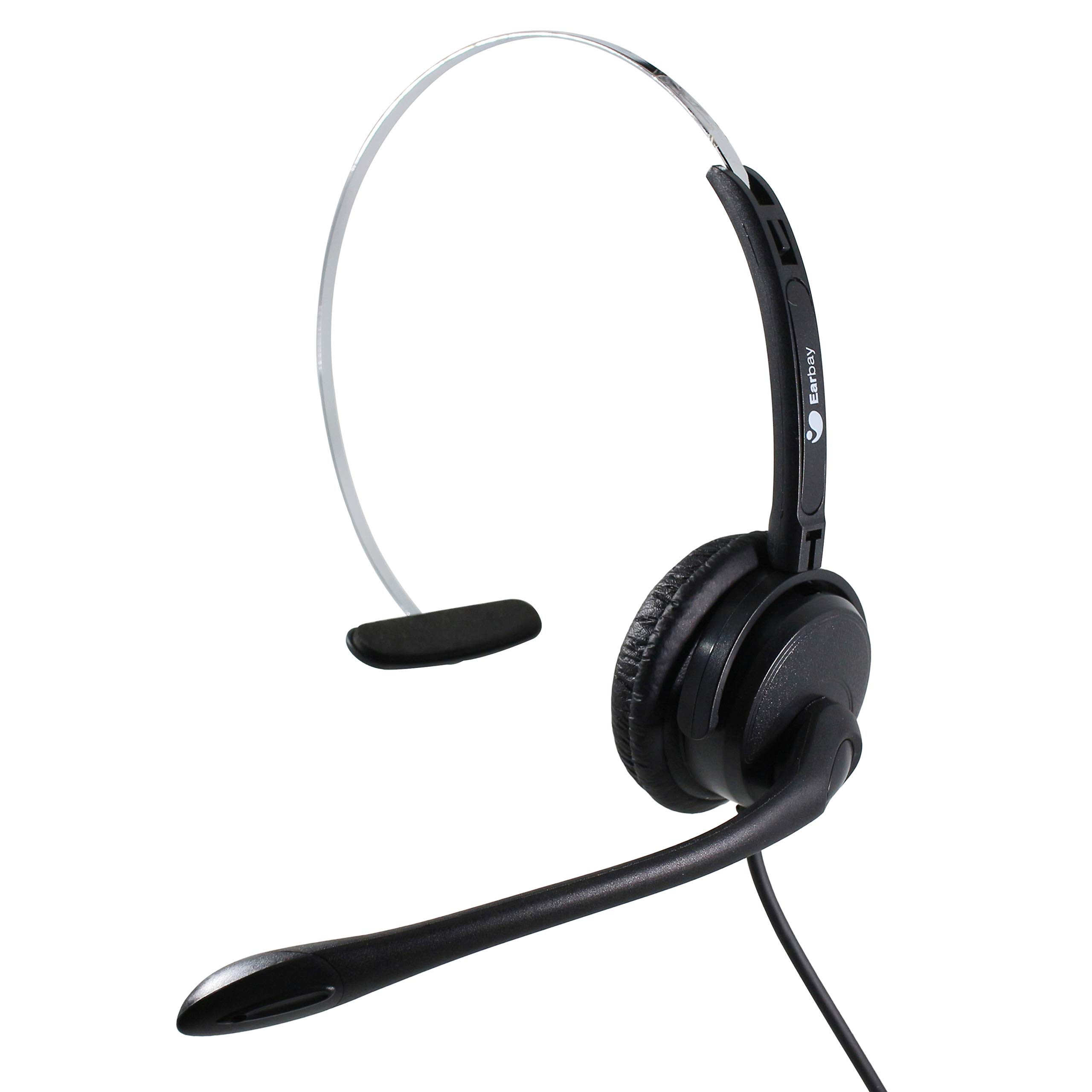 Earbay Call Center Noise Cancelling Headphone Monaural Telephone Headset with RJ Connector Desk Phone Headphones PC Headset
